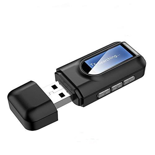 Transmissor e Receptor de Áudio Bluetooth 5.0 - Adaptador Bluetooth 5.0 USB para PC, 2 em 1 Plug and Play Bluetooth Dongle Receptor transmissor Bluetooth com display LCD compatível com Windows 7/8 / 8.1 / 10, para laptop, TV, carro, fones de ouvido, alto-falantes