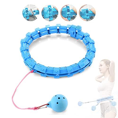 Yun Hui Lai Hula Hoops Smart Weighted Hoola Hoop Fitness Hula Hoop para adultos Crianças Perda de peso Adulto Hula Hoop Nunca derrube atualizado 24 nós removível 360 ° giratório cintura fina abdômen massagem aros (azul)