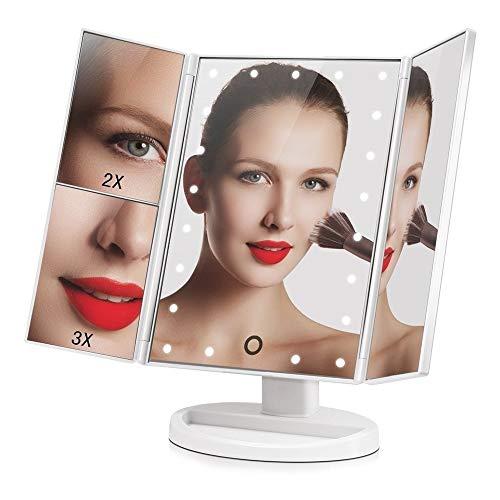 Espelho para MAQUIAGEM de Mesa ARTICULADO Luz 20 LEDs Brancos Portátil USB
