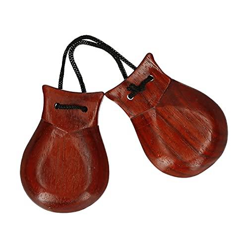 Par de castanholas de castanholas de madeira para dedos instrumento musical