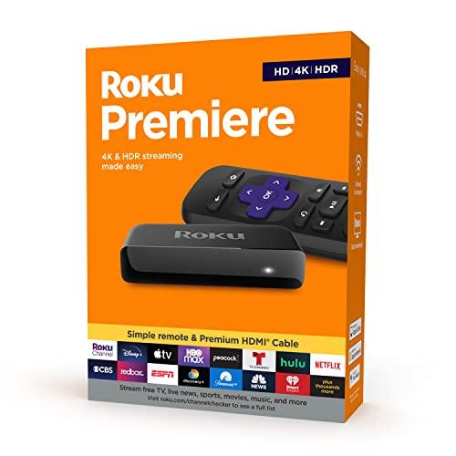Roku Reprodutor de mídia de streaming HD/4K/HDR, controle remoto simples e cabo HDMI premium