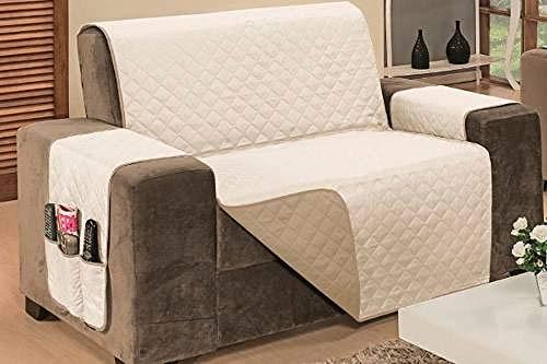 Protetor De Sofá Impermeável 2 Lugares Padrão Liso Dupla Face Tecido Microfibra Kaqui/Palha