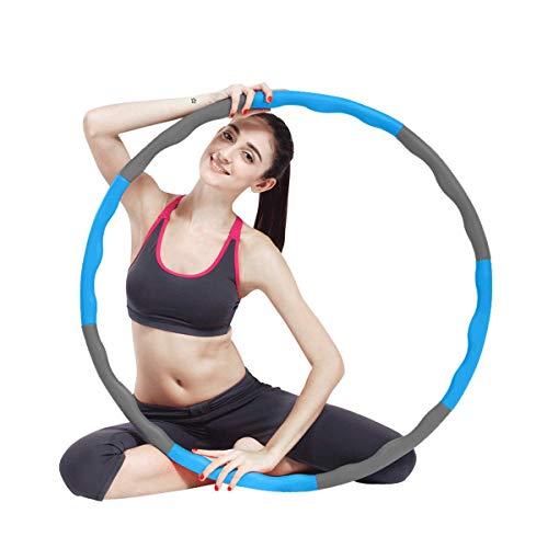 MolySun Argola de hula pesada para adultos Perda de peso - Exercícios e fitness removíveis - Círculos profissionais de pilates - Embrulhado de espuma suave e aconchegante - 8 seções