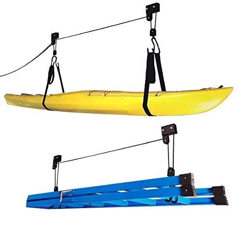 Conjunto de elevação de caiaque – Sistema de polia superior com capacidade de 56 kg para armazenamento de caiaques, canoas, bicicletas ou escadas da Rad Sportz (pacote com 2)