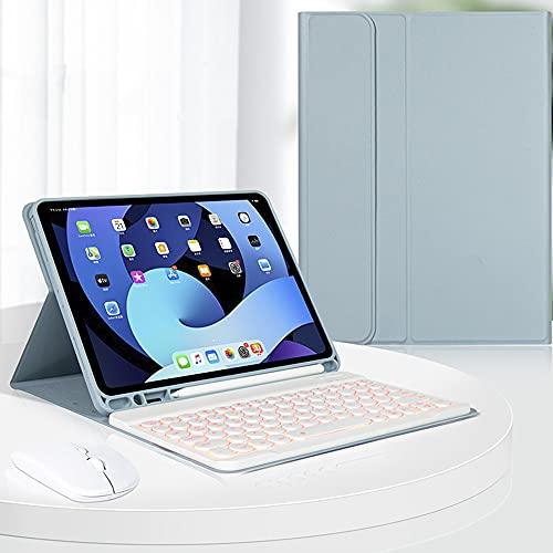 Capa com teclado retroiluminado para iPad Air 4ª geração com mouse, teclado sem fio removível – suporte para lápis – capa com suporte flip para iPad Air4 de 10,9 polegadas 2020 (azul)