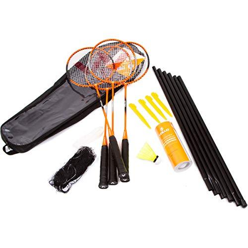 Vollo Sports Kit Badminton 4 Raquetes, 3 Petecas, Rede e Suporte, Preto e Laranja