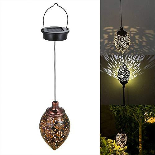 Luzes solares suspensas ao ar livre, lanterna solar oca de ferro forjado LED luzes de jardim lâmpada de metal à prova d'água para decoração suspensa ao ar livre