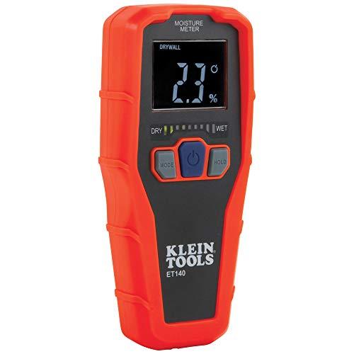 Klein Tools Medidor de umidade ET140 sem pino para detecção de umidade não destrutiva em drywall, madeira e alvenaria; Detecta até 1,9 cm abaixo da superfície