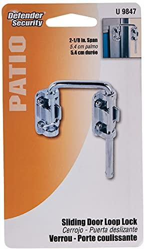 Defender Security U 9847 Trava de porta deslizante para pátio – Aumenta a segurança da casa, instala segurança adicional segura para crianças, barra de aço endurecido de 5 cm com base fundida, cromada