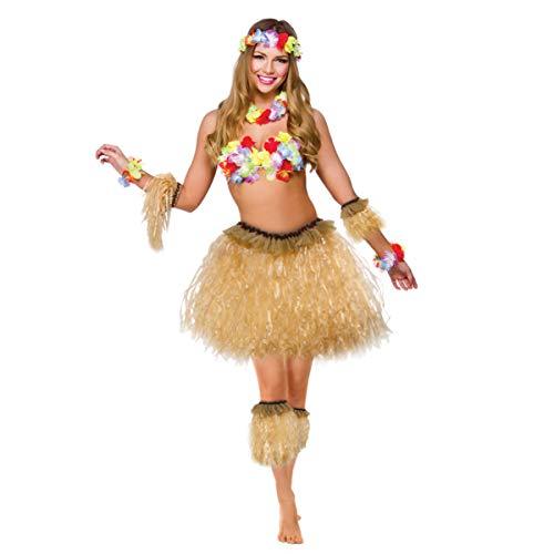 KESYOO 5 Pcs Havaí Tropical Hula Grama Dança Saia Conjunto Faixas de Braço E Perna Traje Traje Elástico para Traje de Festa Havaiano E Roupa de Luau