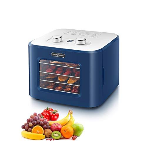 Máquina desidratadora doméstica de alimentos com 4 bandejas de aço inoxidável, secador de frutas, legumes/ervas, Controle de temperatura de tempo + botão de ajuste, azul