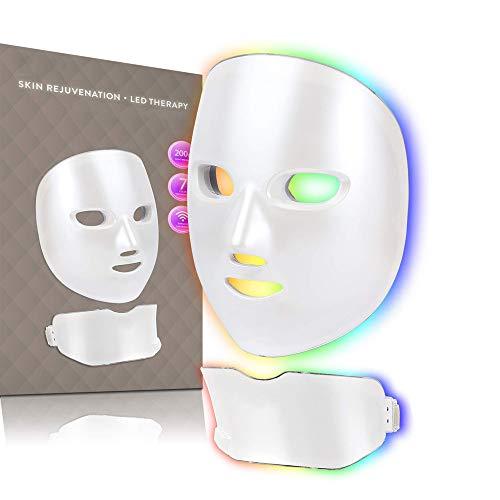 Máscara facial de rejuvenescimento da pele,Sem fio LED Photon Red Blue Green Therapy Tratamento com 7 cores de luz anti envelhecimento Máscara facial para remoção manchas acne rugas branqueadoras