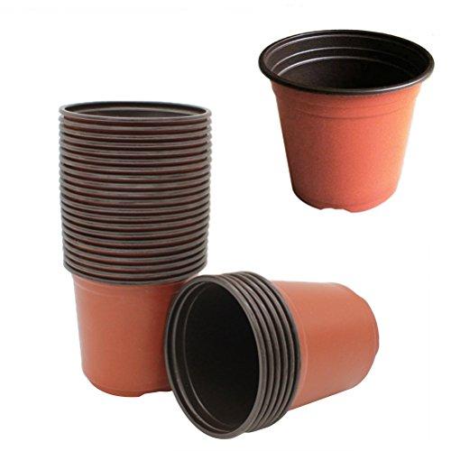 Yardwe 100 unidades de vaso de flores de plantas de plástico para berçário, pote de sementes, recipiente de flores macias, recipiente para iniciação de sementes