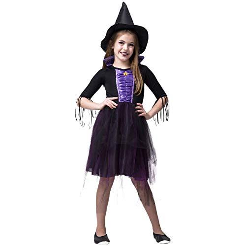 Fantasia Bruxa Emily Halloween Infantil Feiticeira Roxa (P 2 a 4)