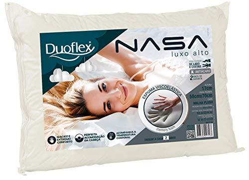 Travesseiro Nasa, Luxo Alto, Bege, 50x70 cm, Duoflex