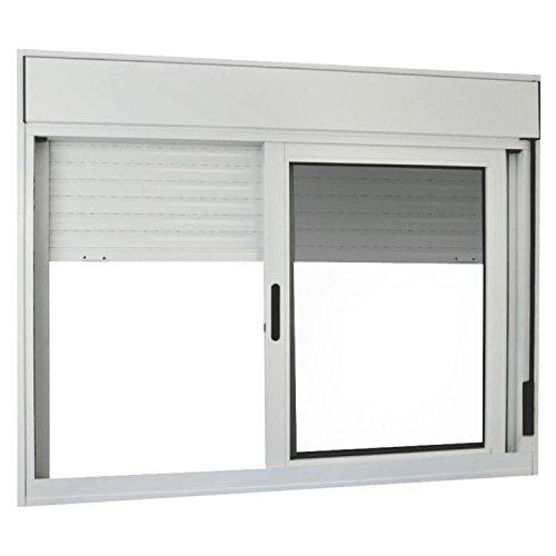 Janela de Correr Alumínio 2 Folhas com Persiana Integrada Mgm Sólida 140cmx150cm Vidro Liso Incolor Branco