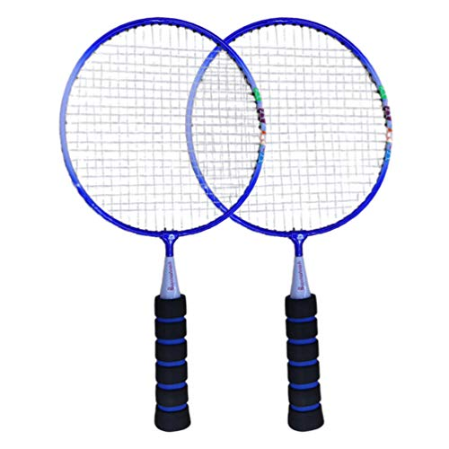 NUOBESTY 1 par de raquete de badminton, mini raquete de badminton para crianças, jogo divertido de badminton para esportes internos e externos (azul)