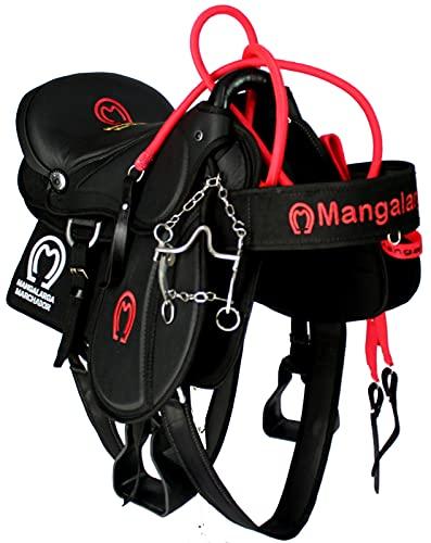 Sela Completa para Cavalos Australiana Adulto Pronta para Uso + Manta Redea Cabeçada Freio e Peitoral Cela 16 polegadas