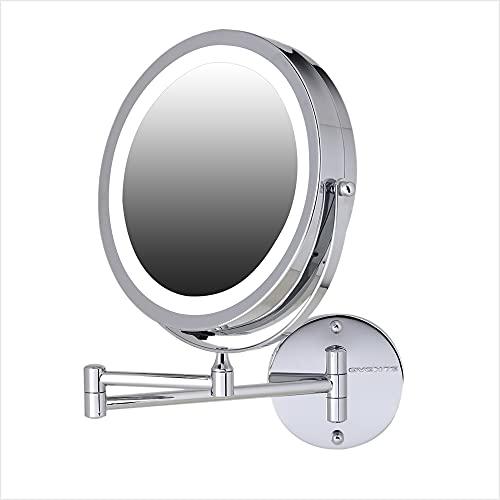 Ovente Espelhos de maquiagem iluminados montados na parede 17 cm, 1 x 7 x LED com ampliação de 360 graus, dois lados, extensível, círculo, grande