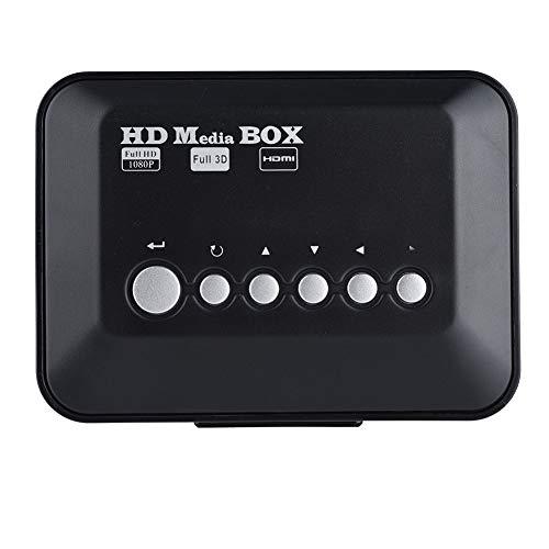 Com reprodutor de mídia com controle remoto infravermelho, reprodutor de mídia HD de forte compatibilidade, áudio de vídeo HD 1080p (regulamentações dos EUA)