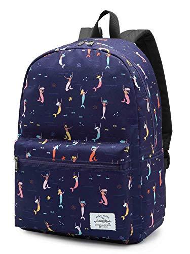 Mochila de sereia HotStyle TRENDYMAX para meninas, linda mochila escolar para crianças do ensino fundamental, azul marinho