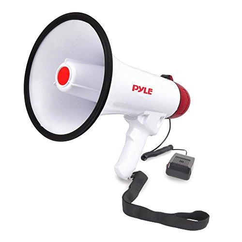 Pyle Megaphone Alto-falante PA Bullhorn W Sirene embutido – Volume ajustável, alcance de 800 metros – Ideal para futebol, futebol, beisebol, hóquei, fãs líderes de torcida de basquete, técnicos, furadeiras de segurança (PMP40)