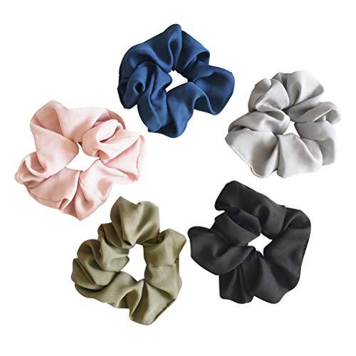 Lurrose 5 peças de faixas elásticas para cabelo com elástico, suporte de rabo de cavalo, sem costura, para mulheres e meninas