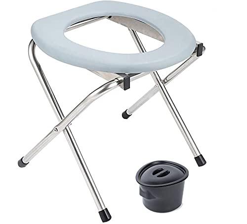 Xbtianxia Assento de vaso sanitário portátil, cadeira dobrável com porta sanitária para carro de emergência com tampa, assento de vaso sanitário leve perfeito para viagens e acampamento