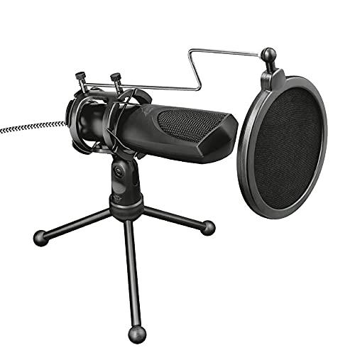 Microfone Streaming GXT 232 Mantis USB com tripé para fluxos no YouTube, Twitch e Facebook - PC e Laptop - Trust Médio
