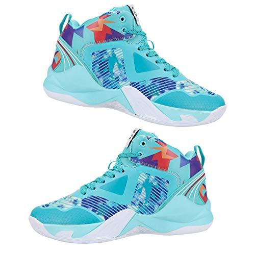 Holibanna Tênis masculino de basquete unissex confortável esportivo feminino masculino moderno respirável 24,0 cm, Azul-celeste, 9