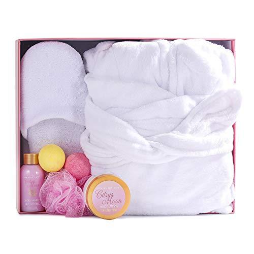 Roupão de banho e chinelos de spa – Roupão de banho macio de flanela para mulheres, conjunto de presente de banho e corpo, conjunto de presente de spa para casa, inclui roupão de banho e chinelos, bombas de banho, loção corporal