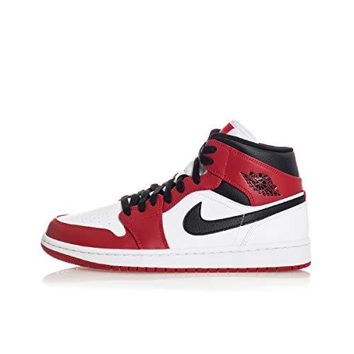 Tênis masculino Jordan Nike Air 1 Médio Chicago 554724-173, White/Gym Red/Black, 9