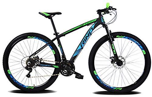 Bicicleta Aro 29 Rino Everest Freio Disco 24v Câmbios Shimano (Azul/Verde, 17)