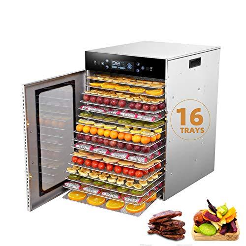 Desidratador de alimentos profissional 12/16 para uso doméstico comercial,Secador de frutas,verduras e ervas em aço inoxidável com bandejas,Tela sensível ao toque de 6 teclas LED,35-99 ℃,16Trays