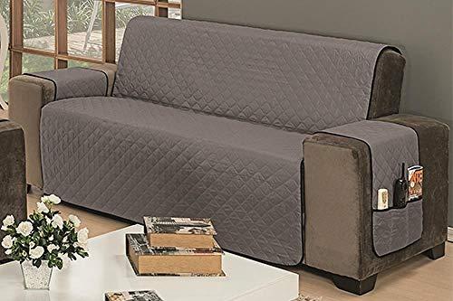 Protetor De Sofá Impermeável 3 Lugares Padrão Liso Dupla Face Tecido Microfibra Cinza/Preto