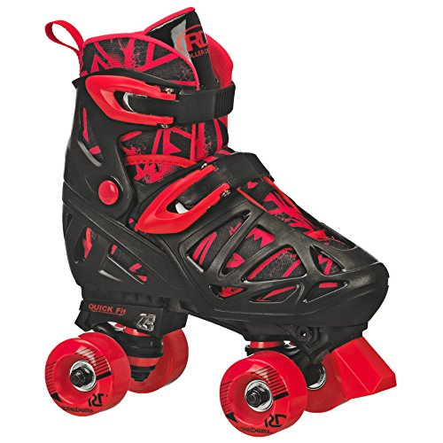 Roller Derby Patins ajustáveis para meninos Trac Star, cinza/preto/vermelho, médio (12-2)
