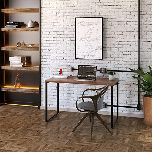 Mesa para Escritório Office Estilo Industrial 1,20m, Compace, Kuadra, Nogal/Est. Preta
