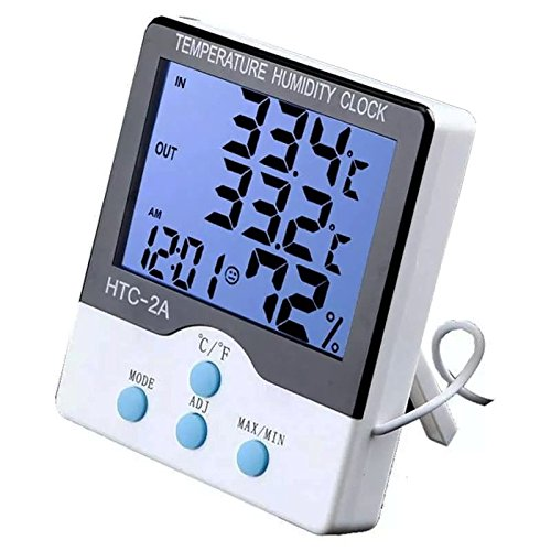 Termômetro Medidor Temperatura Umidade Interno e Externo com Higrômetro HTC-2A