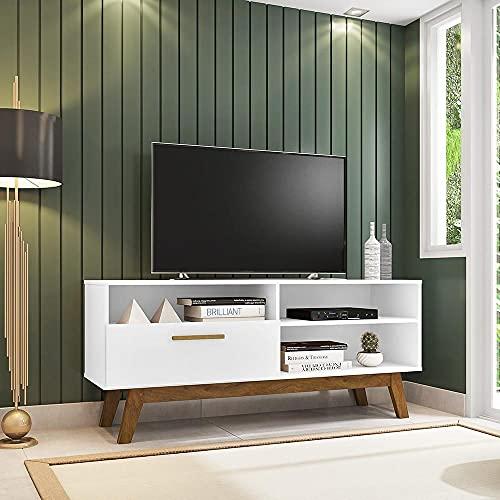 Rack para Tv até 55 Polegadas Pés Madeira Retrô Paládio Móveis Bechara Branco