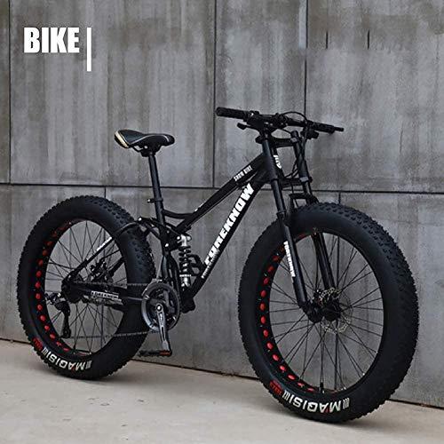 JWCN Motocicleta de roda gorda de 66 polegadas (26 polegadas) Bicicleta gorda Mountain Bike Beach Cruiser Bicicleta de neve Fat Big Tire Bicycle 21 Velocidades Fat Bikes para Adulto Azul 66 cm Atualização