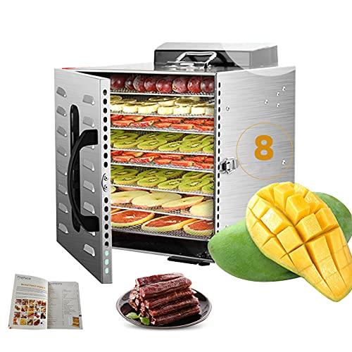 Desidratador pequeno de 8 bandejas com livro de receitas, máquina de secagem comercial de frutas em aço inoxidável, termostato 30-90 ℃, cronômetro 24 H, máquina desidratadora profissional