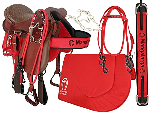 Sela para Cavalo de Cabeça Pronta para Uso Oferta Completa + Peitoral Manta Cabeçada Redea e Freio Adulto em Couro Cela para Passeio