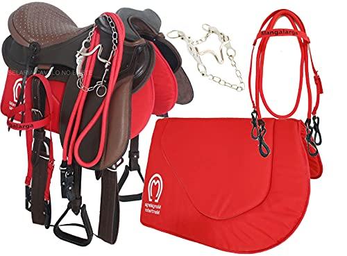 Sela para Cavalo de Cabeça Marrom em Couro Oferta + Manta Rédea Cabeçada e Freio Pronta para Uso Montaria Cela Completa