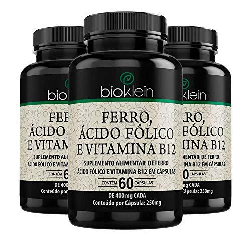 Ferro, Ácido Fólico e Vitamina B12-3 unidades de 60 Cápsulas - Bioklein