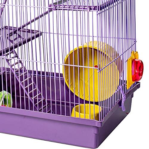 Gaiola Hamster Super Luxo Labirinto 3 Andares Roxo