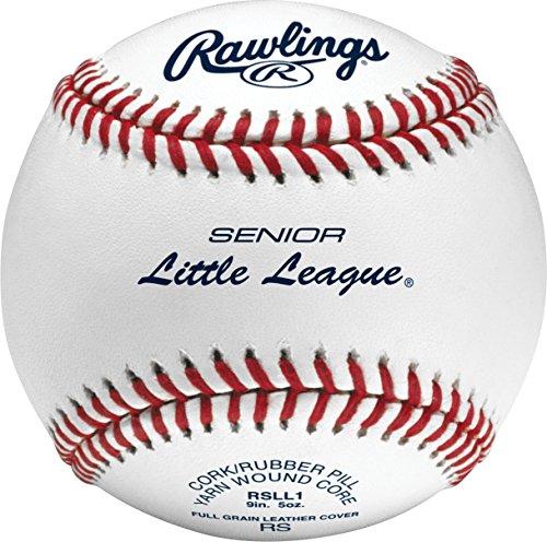 Rawlings Bola de beisebol com costura elevada, bola de beisebol de nível de competição Sênior Little League, caixa com 12, RSLL1