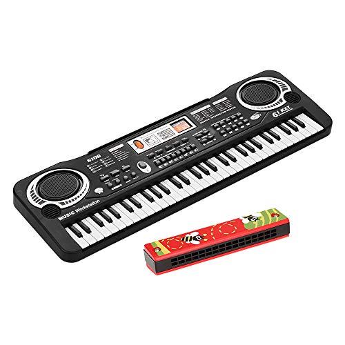 Tomshin 61 teclas teclado eletrônico de piano digital com alto-falantes duplos Microfone USB/alimentado por bateria + harmônica de 16 furos Instrumento musical infantil Brinquedo educacional Tamp