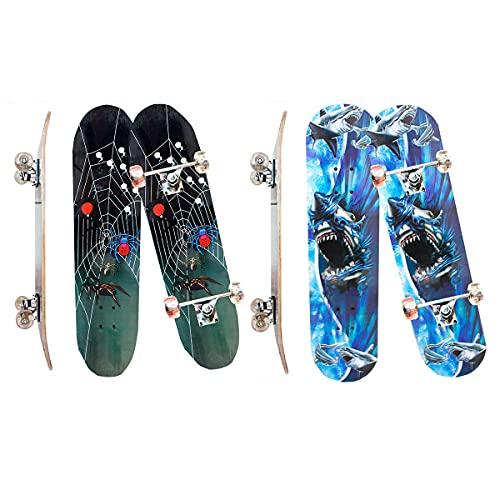 Skate Skateboard Iniciante Completo Madeira Modelos 78 Cm (COR: AZUL ARANHA)